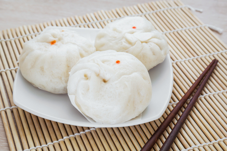 Steamed buns on plate, Chinese food