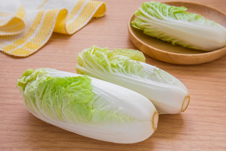 nappa: Chinese cabbage on wooden table