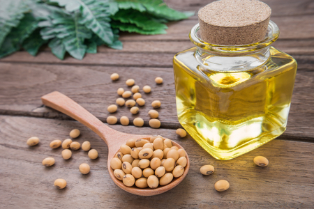 soya bean plant: Soy bean and soy oil on wooden table Stock Photo
