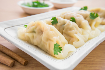 Dumplings op plaat Stockfoto