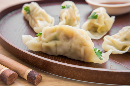 Dumplings on plate Stock Photo