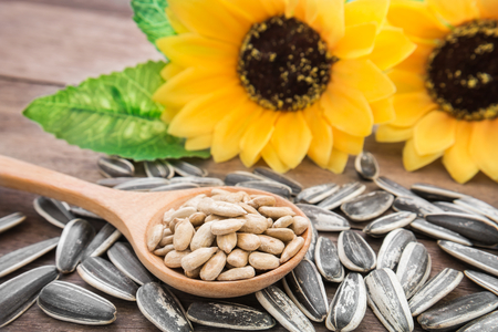 Sunflower seed on wooden spoon Stock Photo