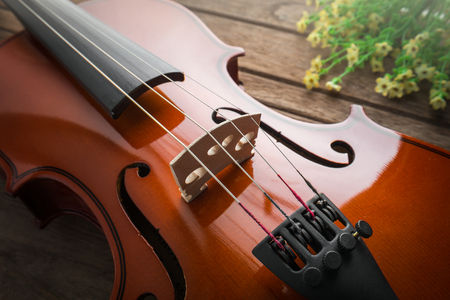 violin background: Close up of violin on wooden table