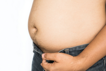 tight fitting: Fat man with big belly on white background Stock Photo