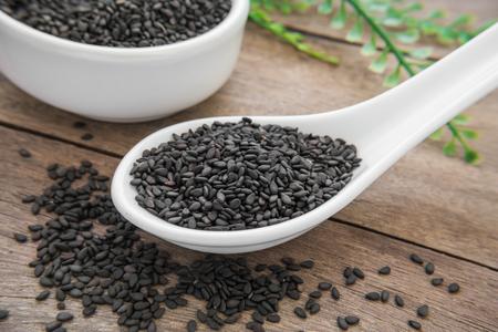 Black sesame on spoon