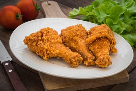crispy: Crispy fried chicken on plate Stock Photo