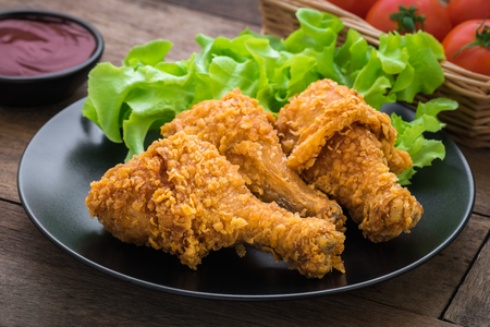 plate: Crispy fried chicken on plate and dip sauce Stock Photo