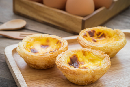 Egg tart on wooden plate Stock Photo