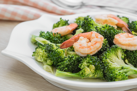 Stir fried broccoli with shrimp on plate