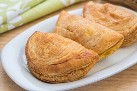 puff: Puff pastry on plate Stock Photo