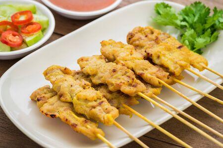 peanut sauce: Grilled pork satay with peanut sauce, Thai food