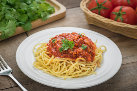 Spaghetti bolognese on plate Stock Photo