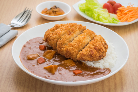 Crispy fried pork cutlet with curry and rice, Japanese food style
