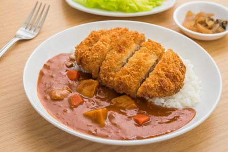 Crispy fried pork cutlet with curry and rice, Japanese food Stock Photo
