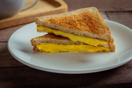 Grilled cheese sandwich on plate Stockfoto