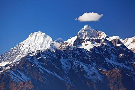 Snowy mountain range Manaslu Himal. The Himalayas, Langtang, Nepal.