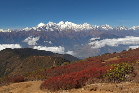 Snowy mountain massif with Ganesh Himal and Manaslu Himal mountain range in the background with red vegetation in the foreground. The Himalayas, Langtang, Nepal.