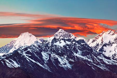 Snowy mountain range Manaslu Himalayas, Nepal.