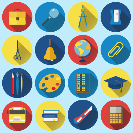 palette knife: Collection of school and education icons in modern flat design style