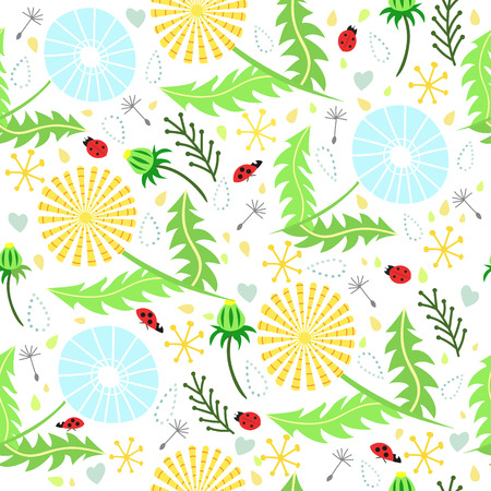 Adorable floral  pattern of dandelions, ladybirds, drops and leaves in fresh summer colors.