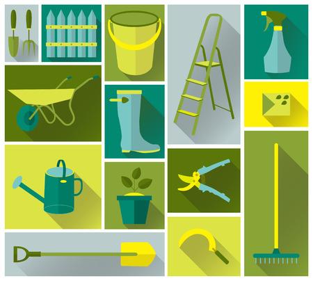 The set icons of tool garden vector