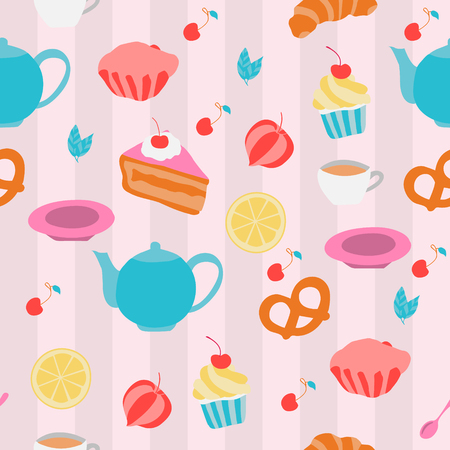 croissants: Vector seamless pattern with tea pots, cups, cakes, croissants, and other sweeties Illustration