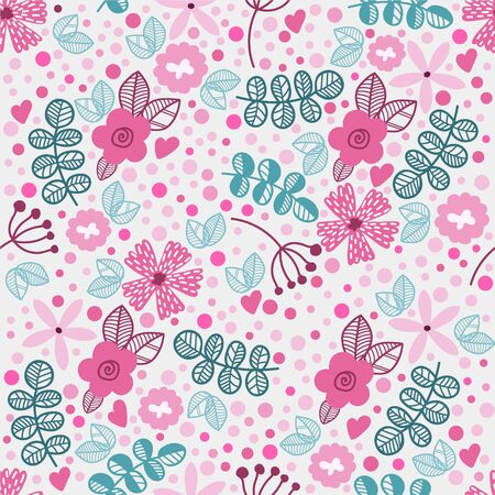Vector seamless floral pattern in doodle style. Bright pattern with blue and pink flowers, hearts and branches. Background for wallpaper, paper, greeting cards, invitations and tissues. Illustration