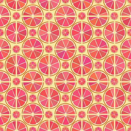 citron: Vector seamless pattern with different citrus grapefruit slice on the yellow background