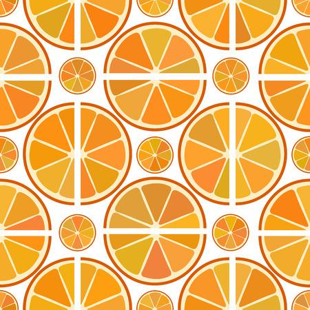 orange slices: Vector seamless citrus pattern with orange slices on white background