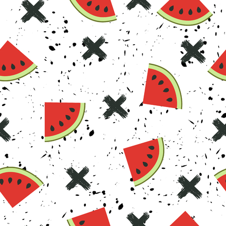 juicy: Seamless background with a pattern of juicy watermelons slices