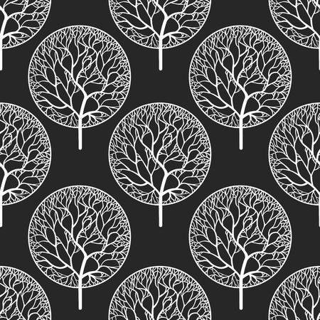 흰색 나무와 원활한 추상적 인 벡터 패턴