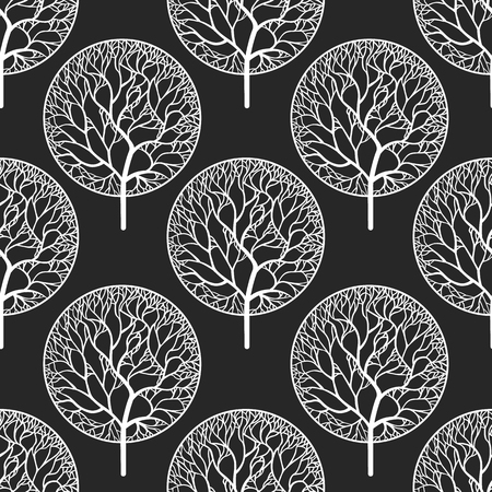 Seamless abstract vector pattern with white trees