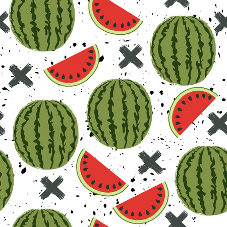 watermelon: Seamless background with a pattern of juicy whole watermelons and slices
