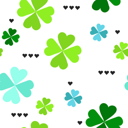 four leaf: Seamless pattern with four leaf clover leaves with black hearts on the white background for St. Patricks Day. Vector, EPS 8