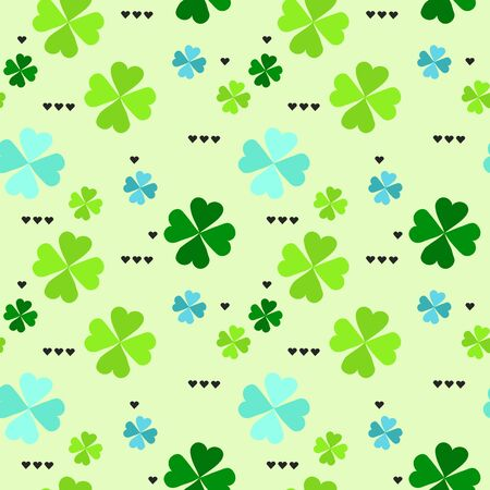 four leaf: Seamless pattern with four leaf clover leaves with black hearts on the white background for St. Patricks Day. Vector,