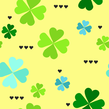 seamless clover: Seamless pattern with four leaf clover leaves with black hearts on the white background for St. Patricks Day. Vector,
