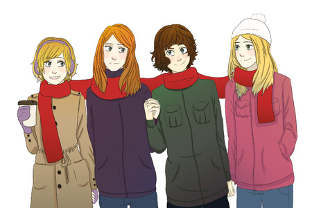 Friends tangled in scarf walking together