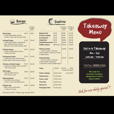dl: takeaway menu side 1