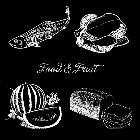 chalk drawing: food and fruit