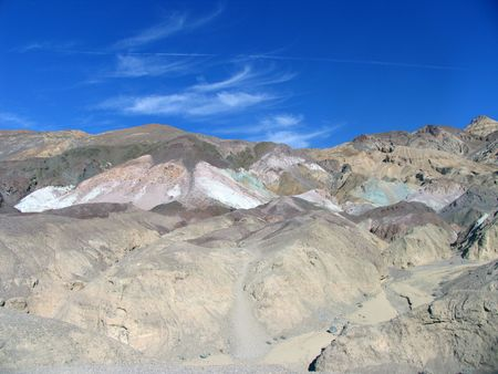 stark: colorful and stark desert hills set against a blue sky background Stock Photo