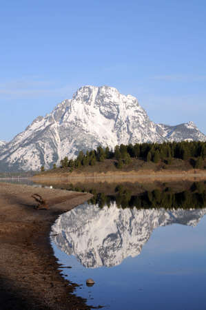 reflection of Grand Tetons on portion of lake  免版税图像