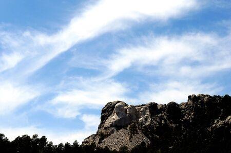 'mt rushmore': Distant presidential sculptures at Mt. Rushmore, South Dakota