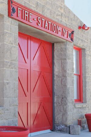 window panes: bright red old fire station door and window panes