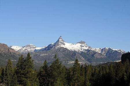 noted: noted Montana mountain peak in wilderness background