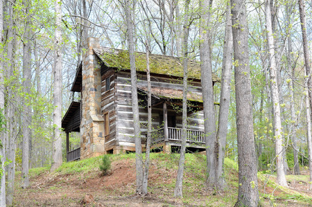 Gray weathered cabin with tall colorful rock chimney stands on forested hillside covered with autumn trees. 版權商用圖片