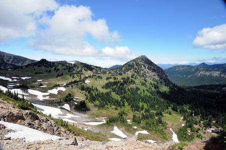 Sneeuwdappelde vallei bij het Rainier National Park in het voorjaar met het nabijgelegen groen bos. Stockfoto
