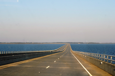 Virginia Dare Memorial Bridge, at more than five miles long, spans the Croatan Sound, North Carolina.