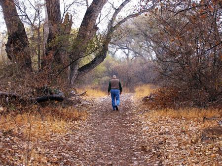 Man die op oeverweg loopt in de herfst bij de Verde rivier in Arizona Stockfoto