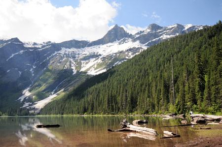 Groene die bomen in Avalanche Lake, Montana, met sneeuw behandelde granietbergen worden weerspiegeld op achtergrond