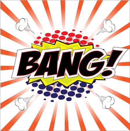 wording: BANG  wording in Comic Speech Bubble In Pop-Art Style, Cartoon